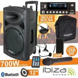 "Coluna Amplificada 12"" 700W Usb/Bt/Sd/Bat Uhf Preta Ibiza"
