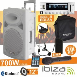 "Coluna Amplificada 12"" 700W Usb/Bt/Sd/Bat Uhf Branca Ibiza"