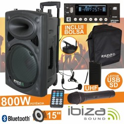 "Coluna Amplificada 15"" 800W Usb/Bt/Sd/Bat Uhf Preta Ibiza"