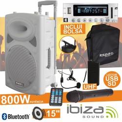 "Coluna Amplificada 15"" 800W Usb/Bt/Sd/Bat Uhf Branca Ibiza"