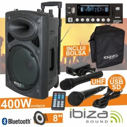 "Coluna Amplificada 8"" 400W Usb/Bt/Sd/Bat Uhf Preta Ibiza"