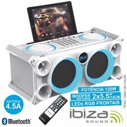 Sistema Som Portátil Branca120Wmáx Usb/Bt/Fm Leds Ibiza