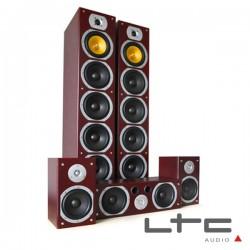 Conjunto Home Theater 5.1 Bass Reflex 1240W Mogno Ltc