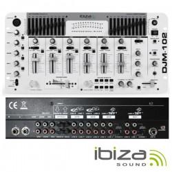 """Mesa de Mistura 19"""" 6 Canais 12 Entradas Branca Ibiza"""
