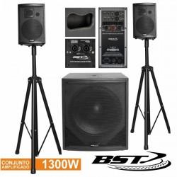 Conjunto Som Amplificado Pro 2.1 1300Wmáx Bst