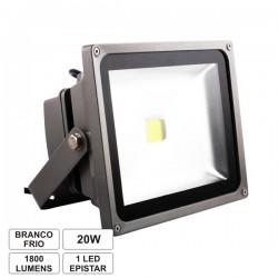 Projector Led 20W 85-265V Branco Frio 1600Lm Ip65 Eco