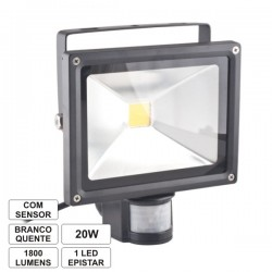 Projector Led 20W 230V c/Sensor Branco Quente 1600Lm Ip65 Eco
