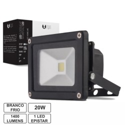 Projector Led 20W 100-265V Branco Frio 1400Lm Ip65 Eco Preto