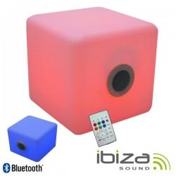 "Coluna Bluetooth 4"" 10W Cubo 15 Leds Rgb Comando Ip44 Ibiza"