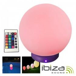 """Bola c/ LEDs 8""""/20cm Piscina 16 Cores Comando Ip68 Ibiza"""