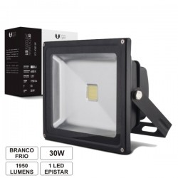 Projector Led 30W 100-265V Branco Frio 1950Lm Ip65 Eco Preto