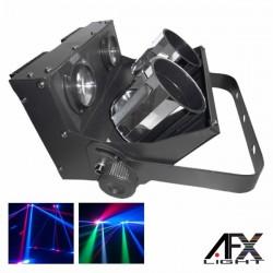 Projector Luz c/ 2 Leds 12W Rgbw Espelhos Dmx Mic Afxlight