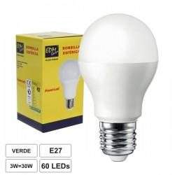 Lâmpada LED E27 230V 3W c/ 60 Leds Verde