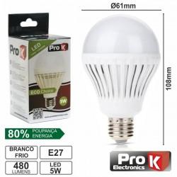 Lâmpada LED E27 Globo 230V 5W 18 Leds Branco Frio 480Lm Prok