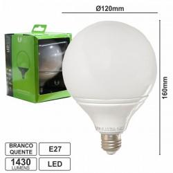 Lâmpada LED E27 Globo 230V 15W Leds Smd 2835 Branco Quente