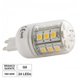 Lâmpada G9 5W 230V 24 Leds Smd 5050 Branco Quente