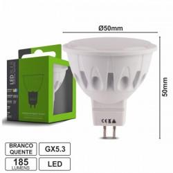 Lâmpada Gx5.3 2W 230V Leds Smd 2835 Branco Quente 185Lm