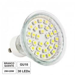 Lâmpada Gu10 2W 230V 30 Leds Smd 3528 Branco Quente