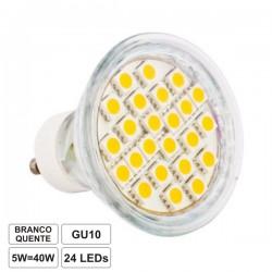 Lâmpada LED Gu10 5W 230V 24 Leds Smd 5050 Branco Quente