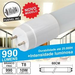 Lâmpada Tubular 10W 60cm Leds T8 Branco Frio 990Lm
