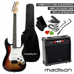 Guitarra Eléctrica Stratocaster Amp c/ Coluna 20W Madison