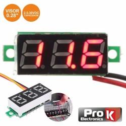 Voltimetro Digital LED Vermelho 2.5V-30Vdc p/ Painel - Prok