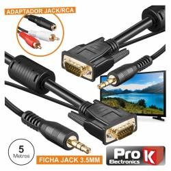 Cabo Vga Dourado Macho / Macho 5M c/Filtro E Audio Prok