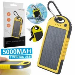 Power Bank Amarelo 5000Ma c/ Painel Solar E 2 Usb
