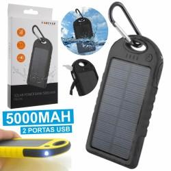 Power Bank Preto 5000Ma c/ Painel Solar E 2 Usb