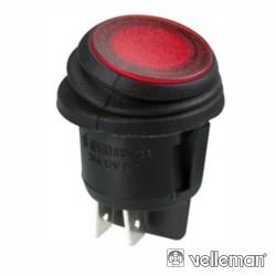 Interruptor Basculante Iluminado Led Vermelho Dpst/On-Off