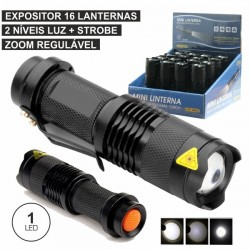 Expositor 16 Lanternas 1 Super Led 3W Zoom Regulável