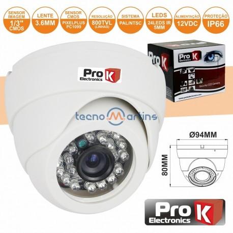 """Câmara Vigilância Dome Ccd Cores 800L 1/3"""" - Prok"""