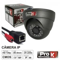 """Câmara Vigilância Ip Dome Cores 1 Mega 1/4"""" Prok"""