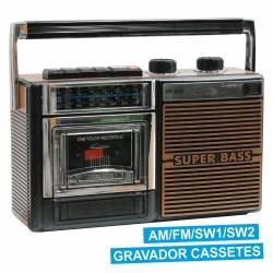 Rádio Portátil Fm/Am c/ Gravador Cassetes
