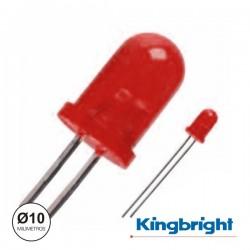 Led 10mm Alto Brilho Vermelho Difuso Kingbright