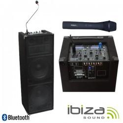 "Coluna Amplificada 2X12"" 240W 2 Mic Usb/Bat/Bt/Sd Ibiza"