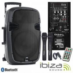 "Coluna Amplificada 12"" 500W Usb/Bt/Sd/Bat/2Xmic Vhf Ibiza"