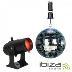 Bola de Espelhos 20cm c/ Motor E Projector Pinspot 10W Ibiza