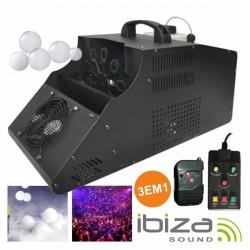 Máquina de Fumos E Bolhas 1000W 3 Em 1 c/ 2 Comandos Ibiza