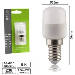 Lâmpada LED E14 230V 2.5W Leds Smd 2835 Branco Quente 230Lm