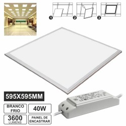 Painel Leds Quadrado 40W 595mm Branco Frio 3600Lm
