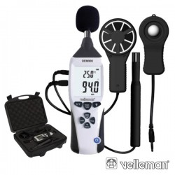 Medidor de Ambiente 5Em1 3 1/2 Db+Lux Velleman