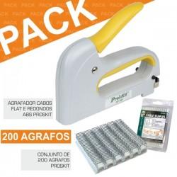 Pack Agrafador de Cabos Flat E Redondos + 200 Agrafos