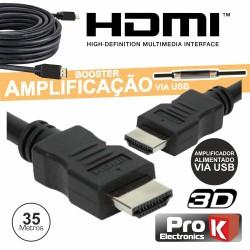 Cabo Hdmi Dourado Macho / Macho c/ Amplificador 35mt - Prok