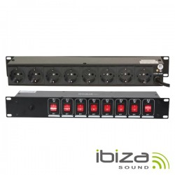 "Base Eléctrica c/ 8 Saídas Interruptores p/ Rack 19"" Ibiza"