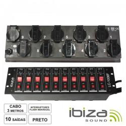 "Tomada Eléctrica c/ 10 Saídas 19"" Botões+Flash 3M - Ibiza"