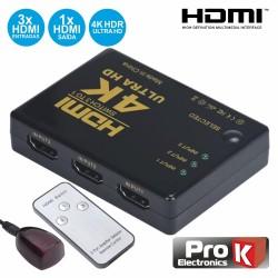 Distribuidor Hdmi Amplificado 3 Entradas 1 Saída IR - Prok