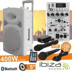 "Coluna Amplificada 8"" 400W Usb/Bt/Sd/Bat Vhf Branca Ibiza"