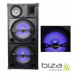 "Coluna Passiva 3 Vias 2X15"" 900Wmáx Mdf/Abs LEDs Azuis Ibiza"