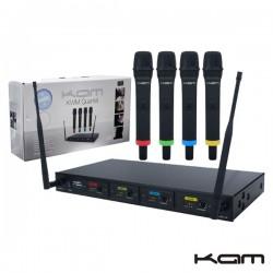 Central Microfone S/Fios 4 Canais Carga Via Usb Uhf Kam